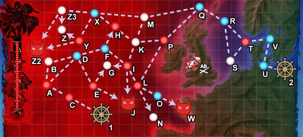 【E-5:欧州作戦海域方面 北海/北大西洋海域】全力出撃!新ライン演習作戦(3ゲージ目+装甲ギミック) 攻略編成例【18初秋イベ:抜錨!連合艦隊、西へ!】
